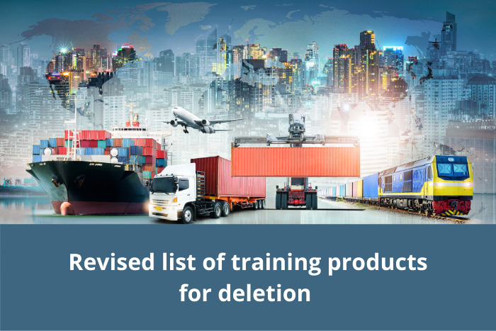 Revised list of training products for deletion